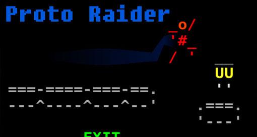 """In """"Proto Raider"""" rennt und springt ihr durch eine minimalistische ASCII-Welt"""