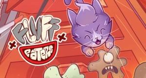 Fluff Eaters: eine lila Katze kämpft gegen Schmutzmonster