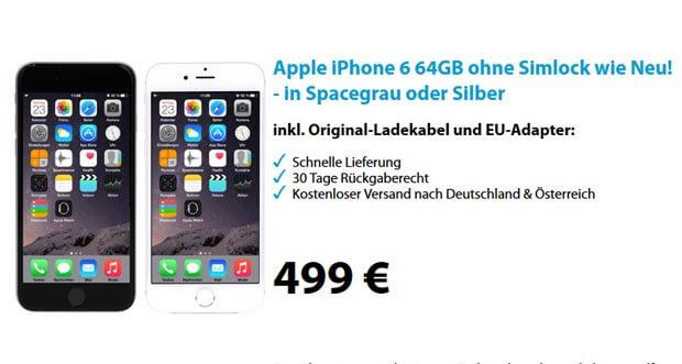 iPhone 6 mit 64GB wie neu bei ebay für nur 499€