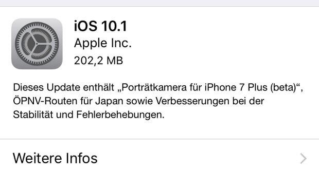 Apple veröffentlicht iOS 10.1