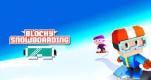 "In ""Blocky Snowboarding"" geht es im Zickzack den Berg hinab"