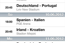 Spielplan für die EM 2012