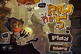 """Puzzle-Plattformer """"Robo5"""" kostenlos: kleiner Roboter auf seinem Weg über die Boxen"""